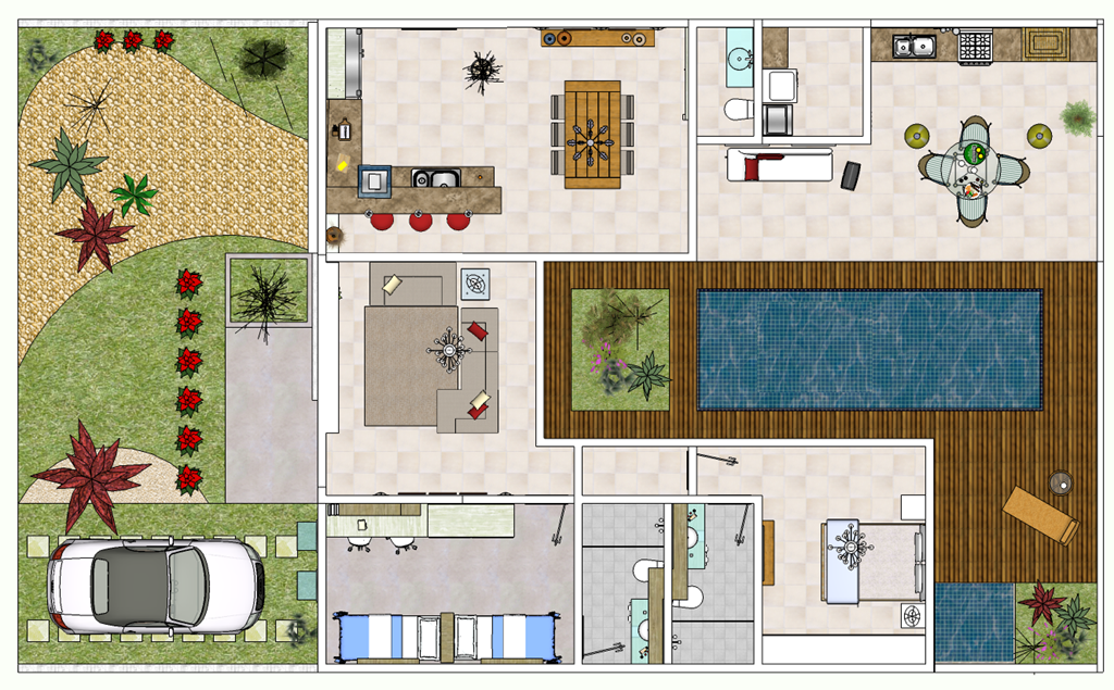 Plantas de casas modernas decorando casas for Plantas de viviendas modernas