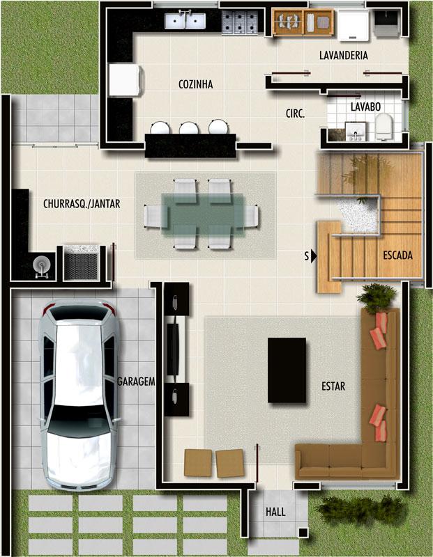 Plantas de casas pequenas e modernas fotos decorando casas for Plantas de viviendas modernas