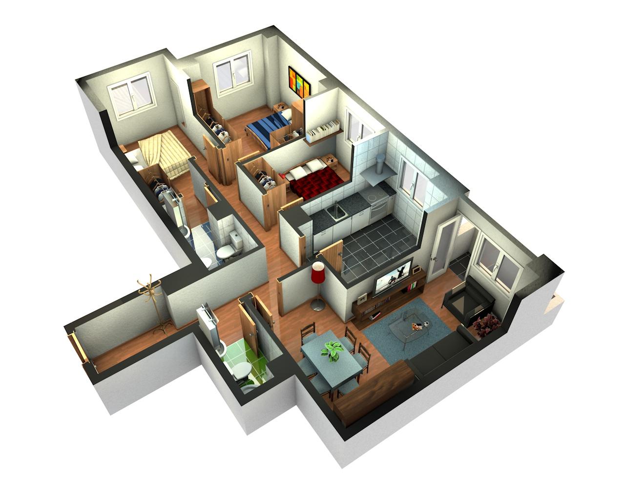 Plantas de casas em 3d gratis decorando casas for Planos de casas 200m2