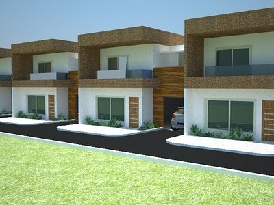 Fachadas de casas geminadas e modernas fotos decorando casas for Fachadas de casas modernas de 2 quartos