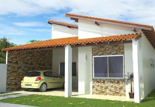 Decora projetos fachadas casas varanda garagem images for Casetas pequenas