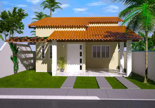 Fachadas de casas pequenas com varanda fotos decorando casas for Modelos de fachadas