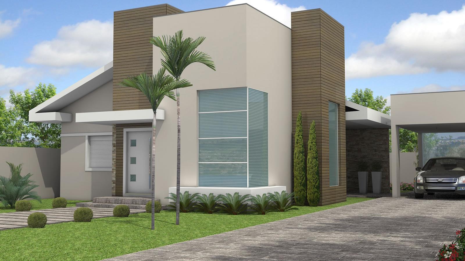 Fotos de fachadas de casas simples t rreas decorando casas for Casas modernas de 70m2