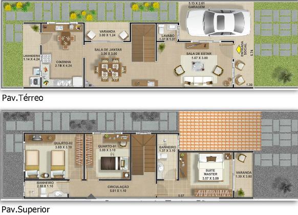 Plantas de casas geminadas gratis decorando casas for Casas mucho lote 2 modelo villas