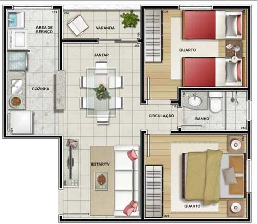 Plantas de casas com 2 quartos fotos decorando casas for Modelos de apartamentos