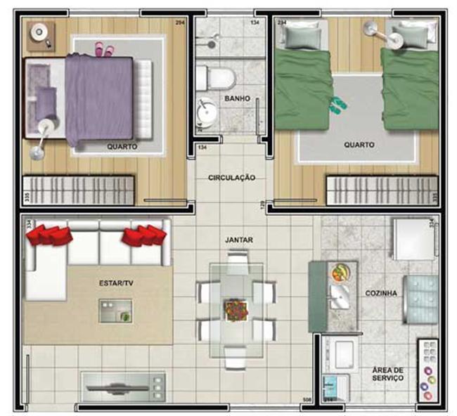 Plantas de casas com 2 quartos fotos decorando casas for Plantas arquitectonicas de casas
