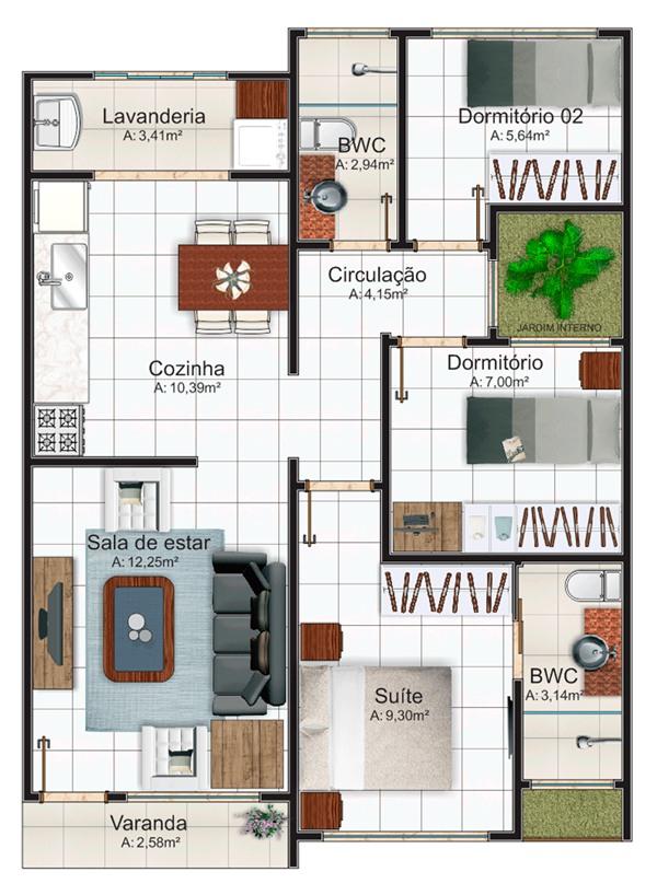 Plantas de casas com 2 quartos fotos decorando casas for Casa moderna 3 habitaciones