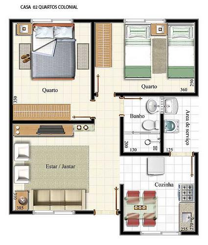 Plantas de casas com 2 quartos fotos decorando casas for Fachadas de casas modernas de 2 quartos