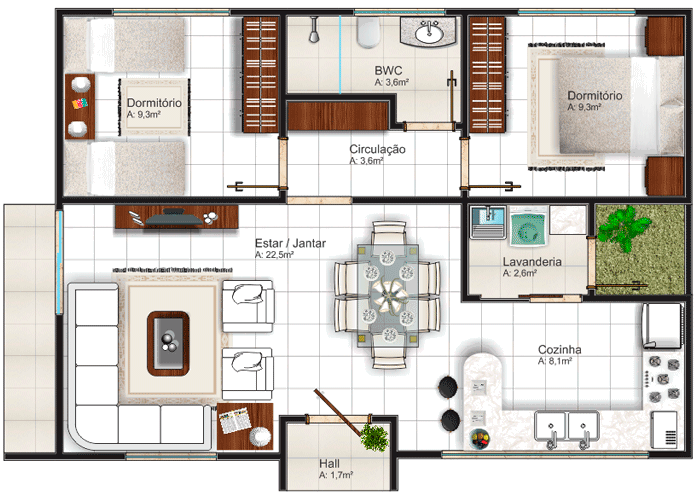 Sencilla casa de dos plantas, tres dormitorios y 151