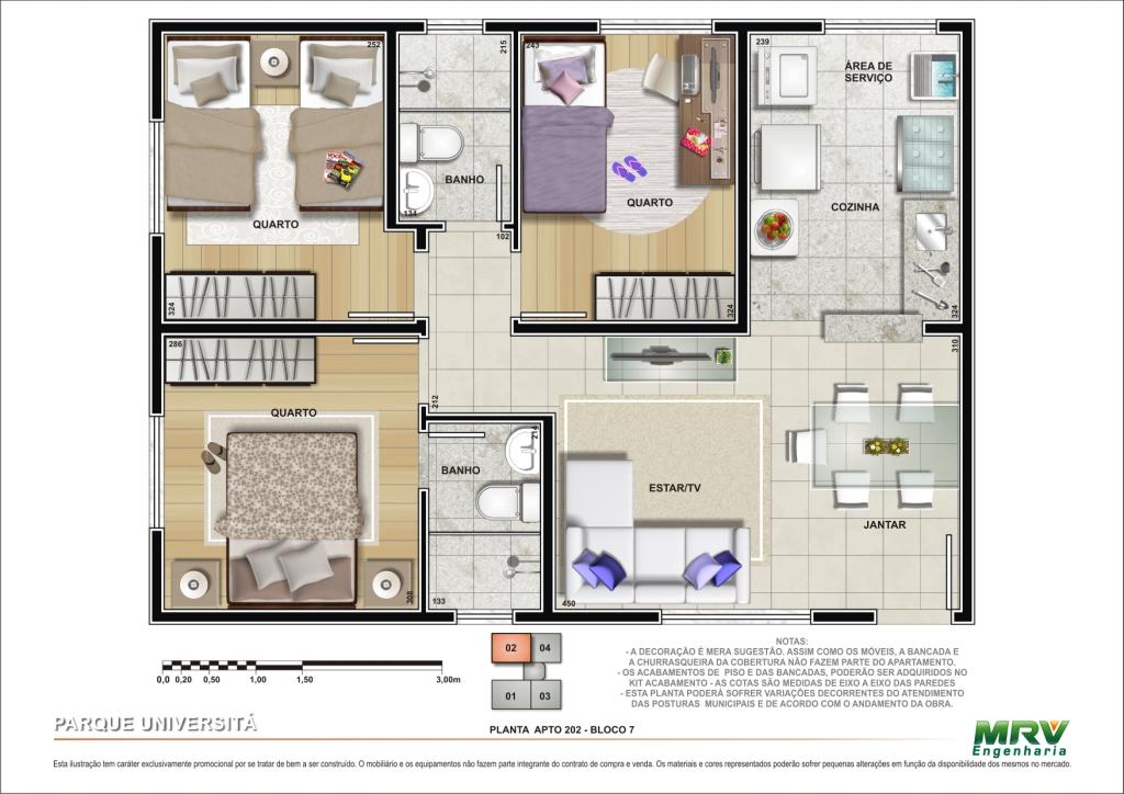 Plantas de casas com 3 quartos fotos decorando casas for Plantas de viviendas