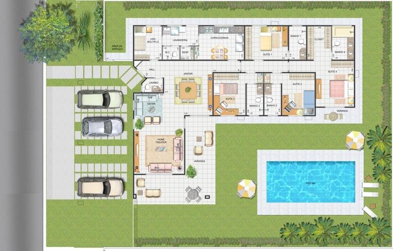Plantas de casas com 3 quartos fotos decorando casas for Plantas de casas modernas con piscina