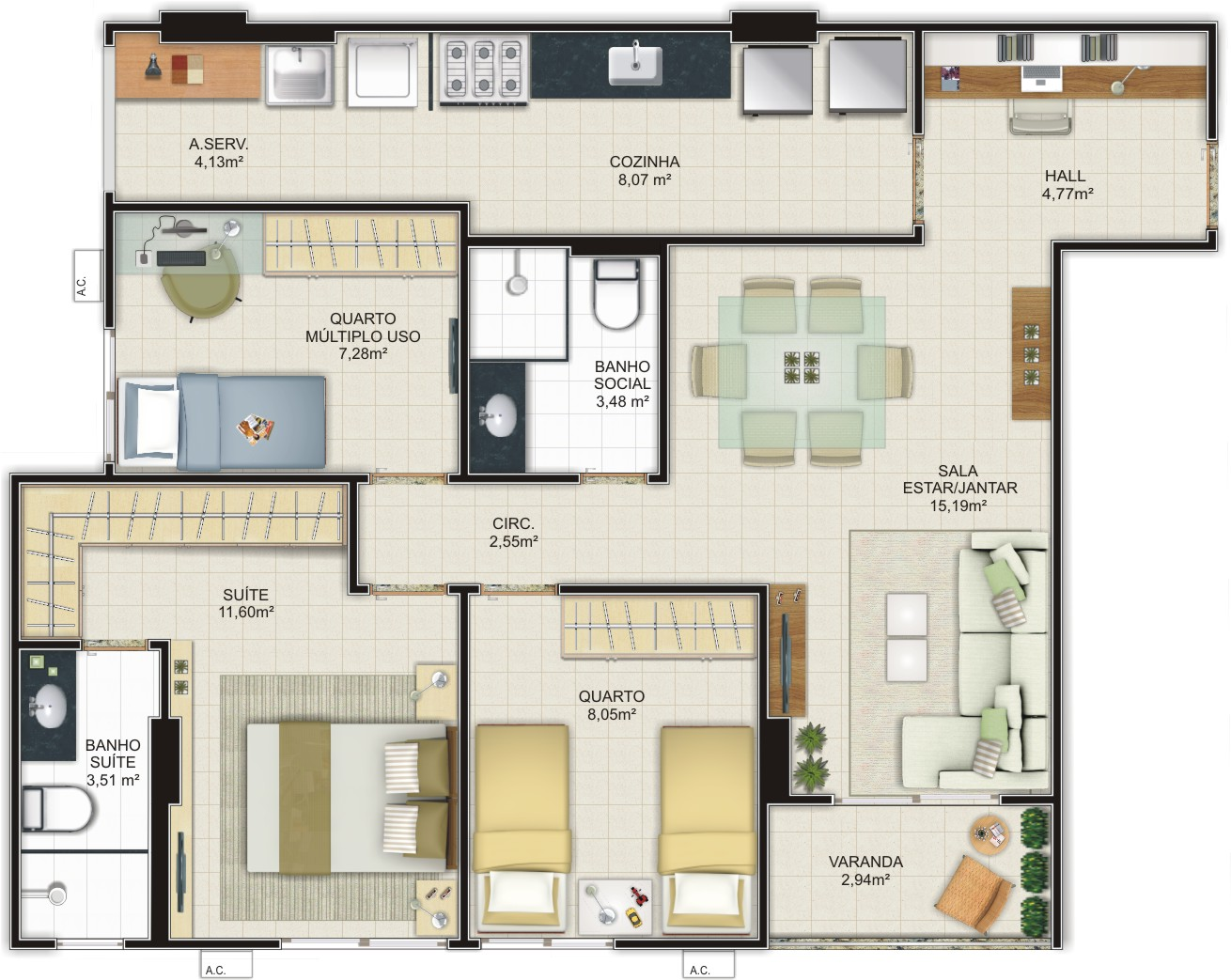 Plantas de casas com 3 quartos fotos Decorando Casas #886B43 1310 1043