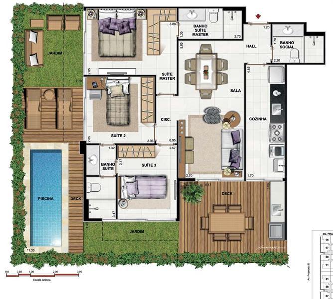 Plantas de casas com 3 quartos fotos decorando casas for Casa moderna 4 ambientes
