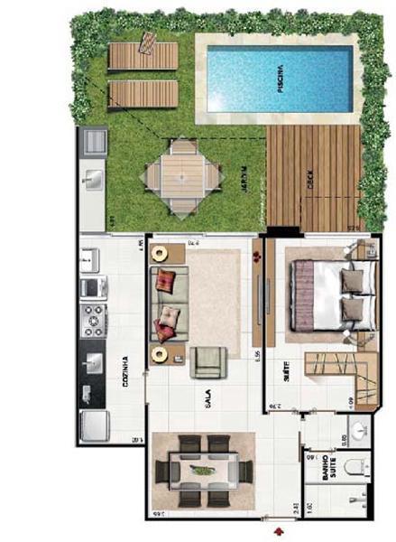 Plantas de casas com 3 quartos fotos decorando casas for Planos de piscinas pequenas