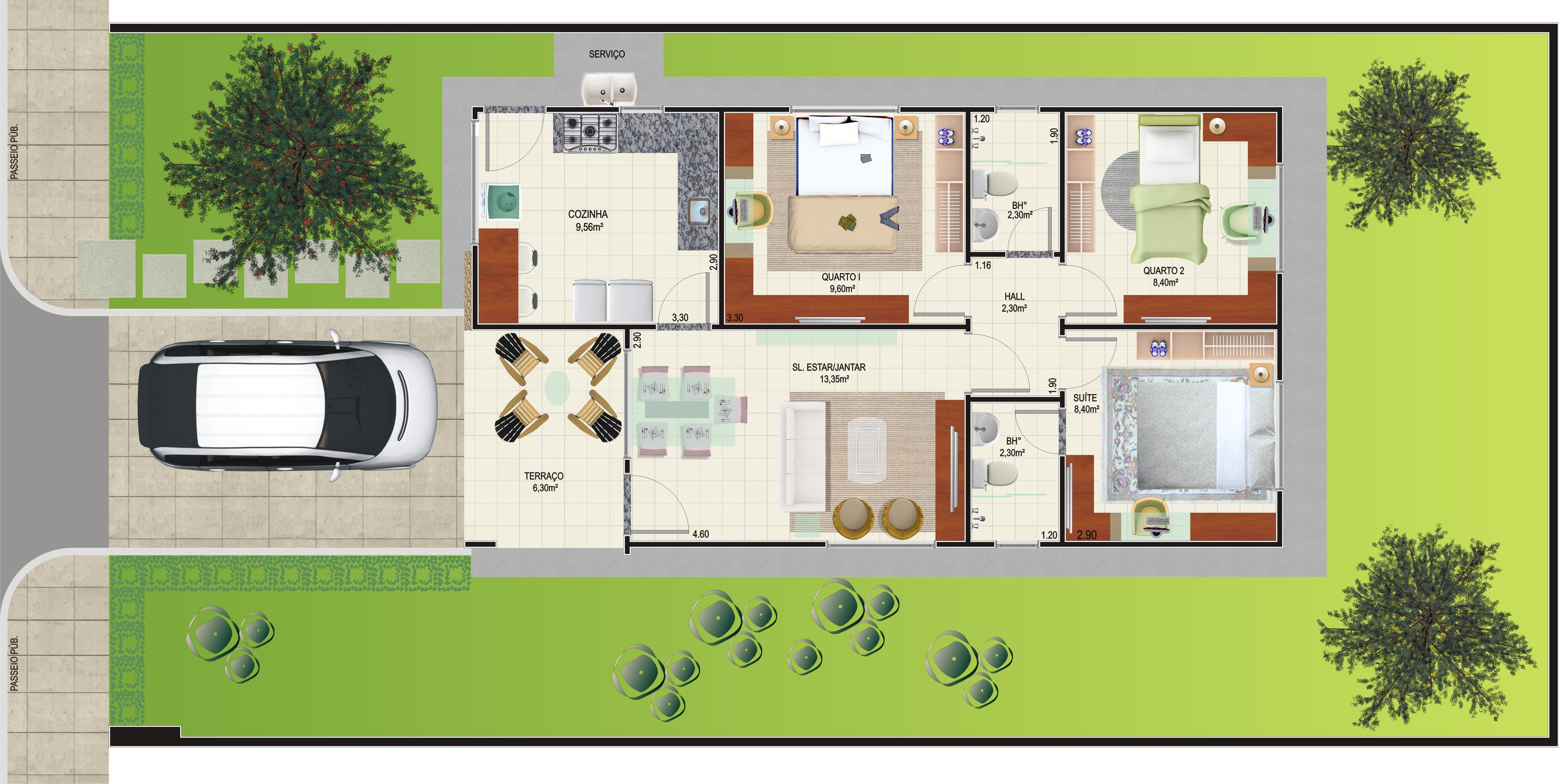 Plantas de casas com 3 quartos fotos decorando casas for Casa moderna 2 andares 3 quartos