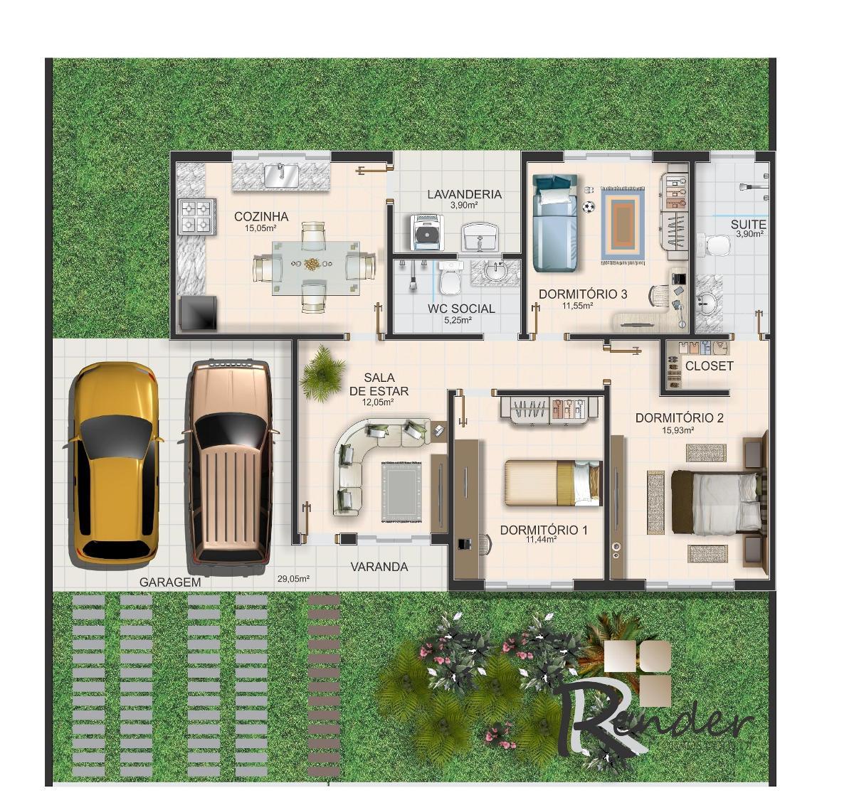 Plantas de casas com 3 quartos fotos Decorando Casas #A27829 1200 1132