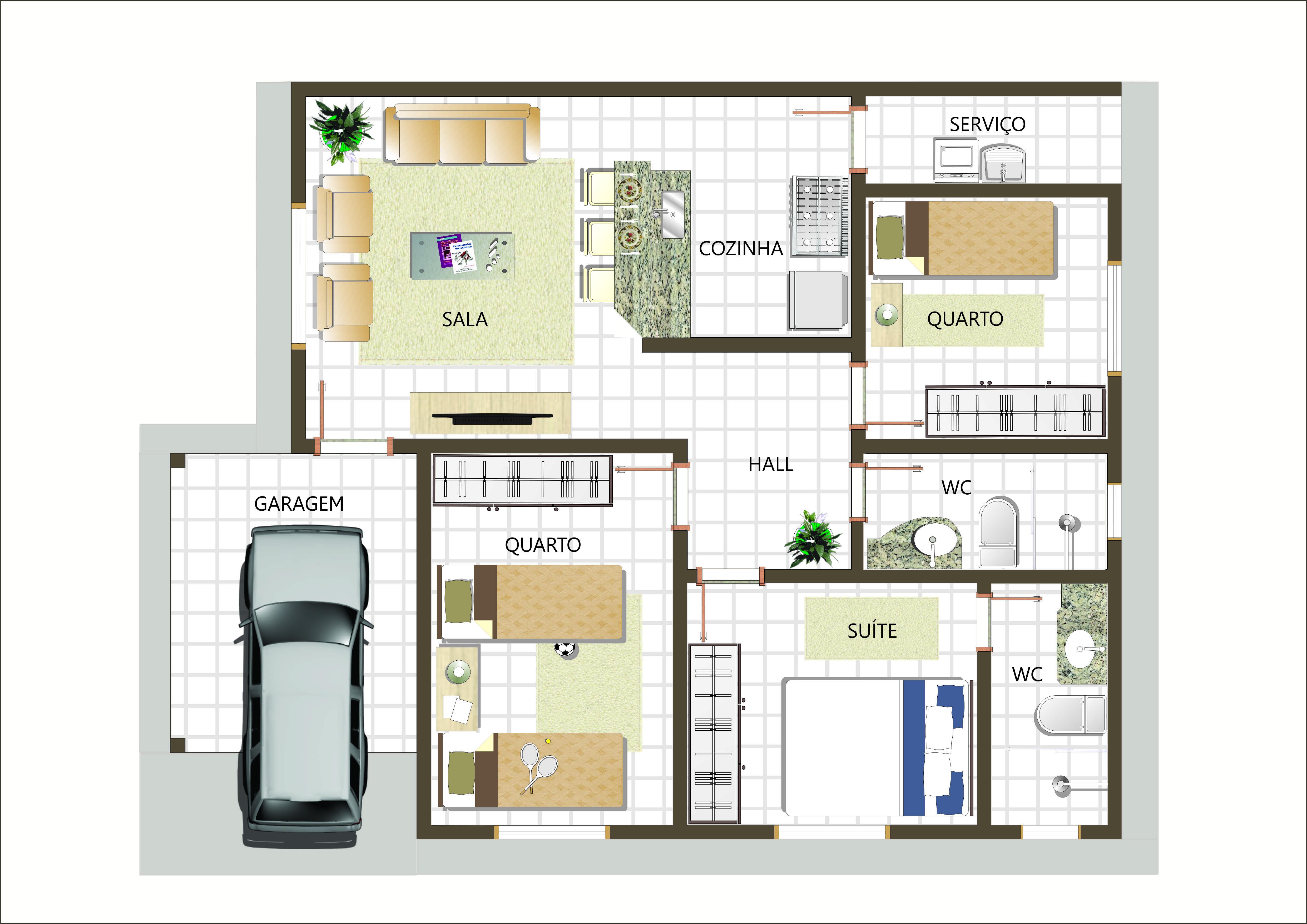 Modelo de casa de 2 quartos com duas sutes plantas de casas for Plantas de casas tipo 3 modernas