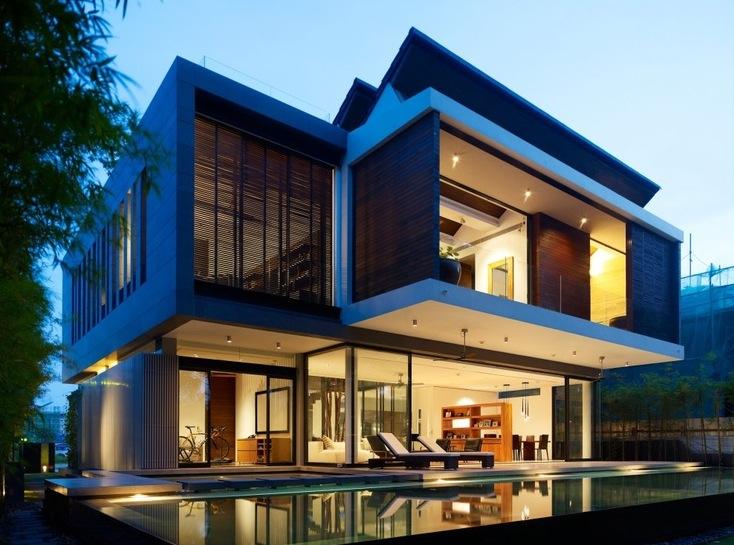 Fachadas de casas modernas com vidros decorando casas for Casa moderna y lujosa