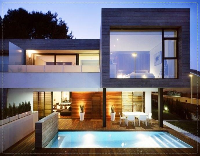 Fachadas de casas modernas com vidros decorando casas for Molduras contemporaneas