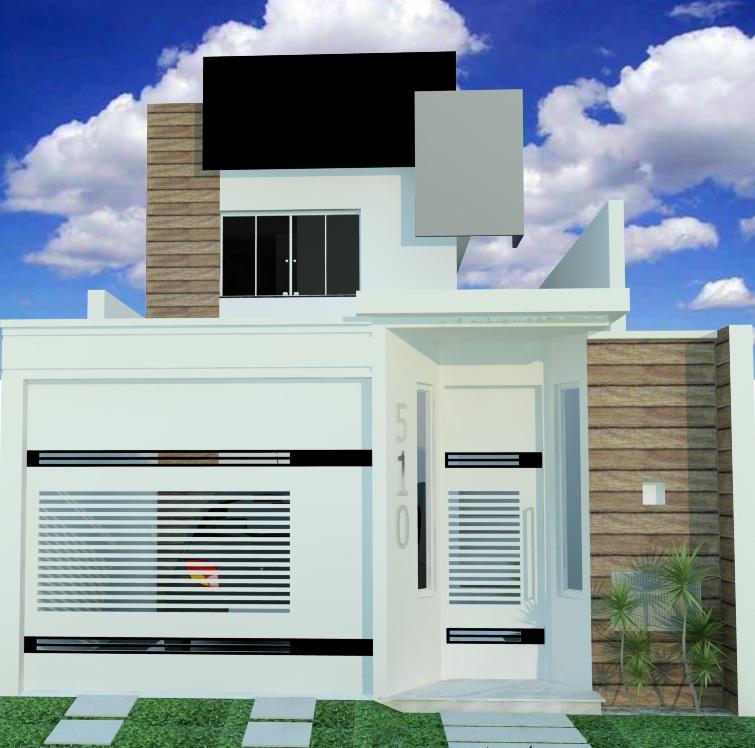 Fachadas de casas modernas com muros fotos decorando casas for Modelos de fachadas modernas