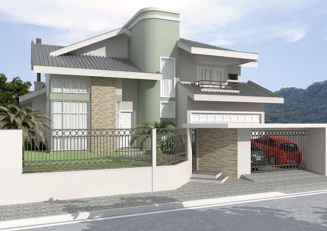 Fachadas de casas modernas com muros fotos decorando casas for Decorando casa