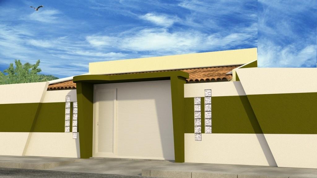 Fachadas de casas modernas com muros fotos decorando casas for Fachadas frontales para casas