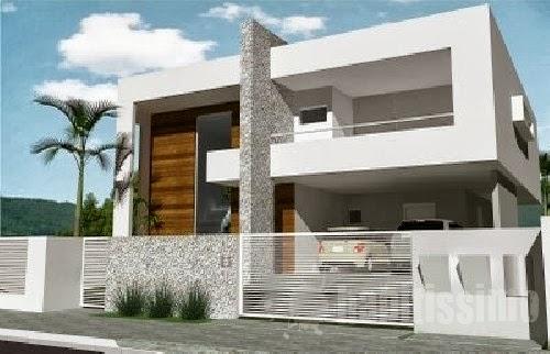 Fachadas de casas modernas com muros fotos decorando casas for Fachadas de casas contemporaneas modernas