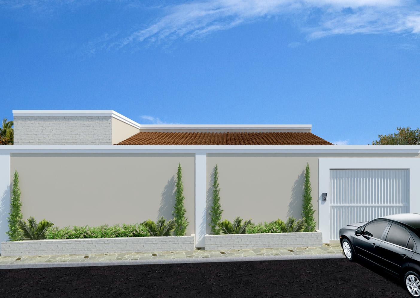 Fachadas de casas modernas com muros fotos decorando casas for Jardines pequenos horizontales