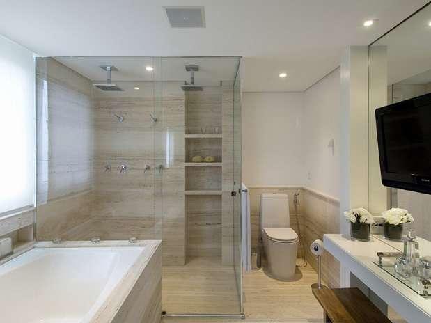 Revestimento para banheiros modernos e pequenos fotos  Decorando Casas -> Meu Banheiro Moderno