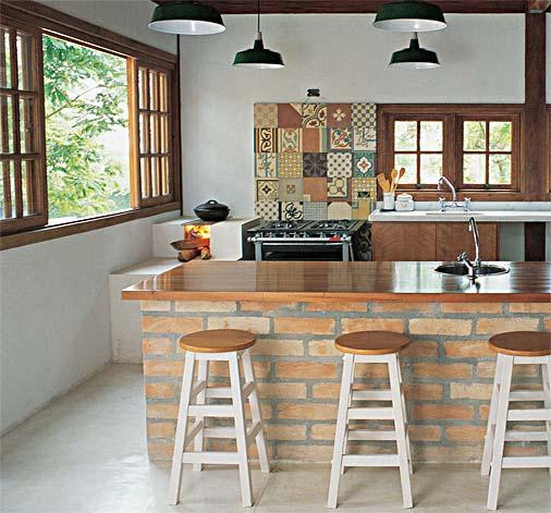 Decoração de casas de campo simples e pequenas  Decorando Cas # Ilha Cozinha Tijolo