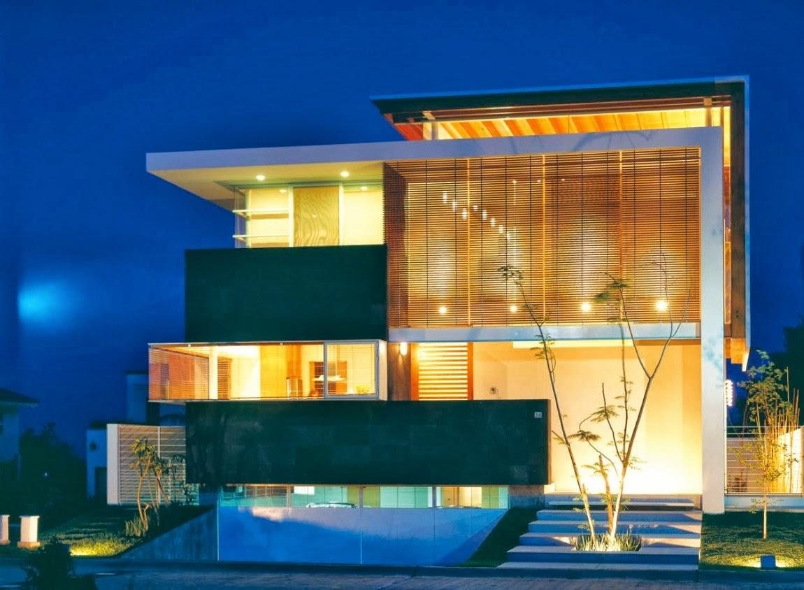 Fachadas de casas modernas com telhado embutido e for Casa moderna