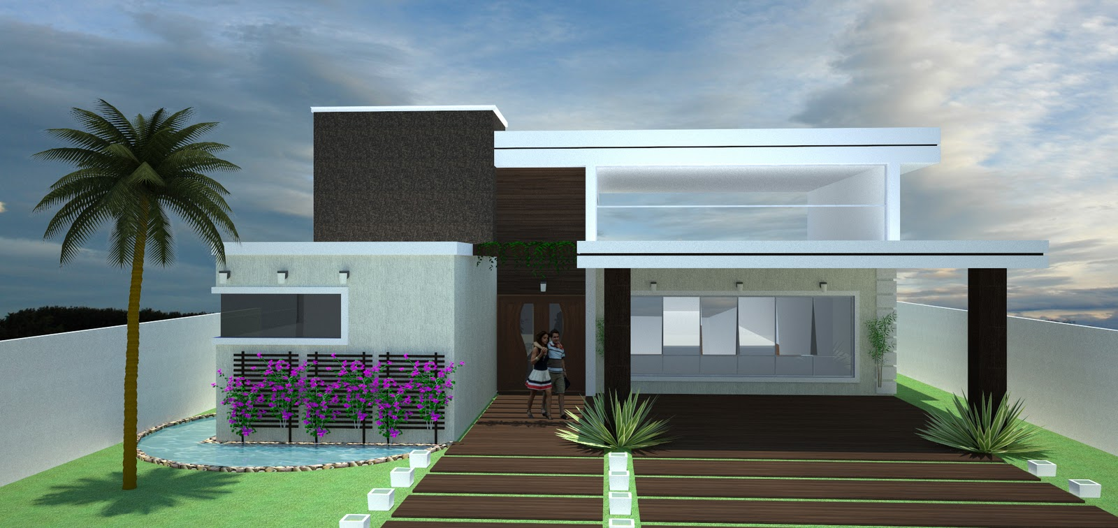 Fachadas de casas modernas com telhado embutido e for Modelo de fachadas para casas modernas