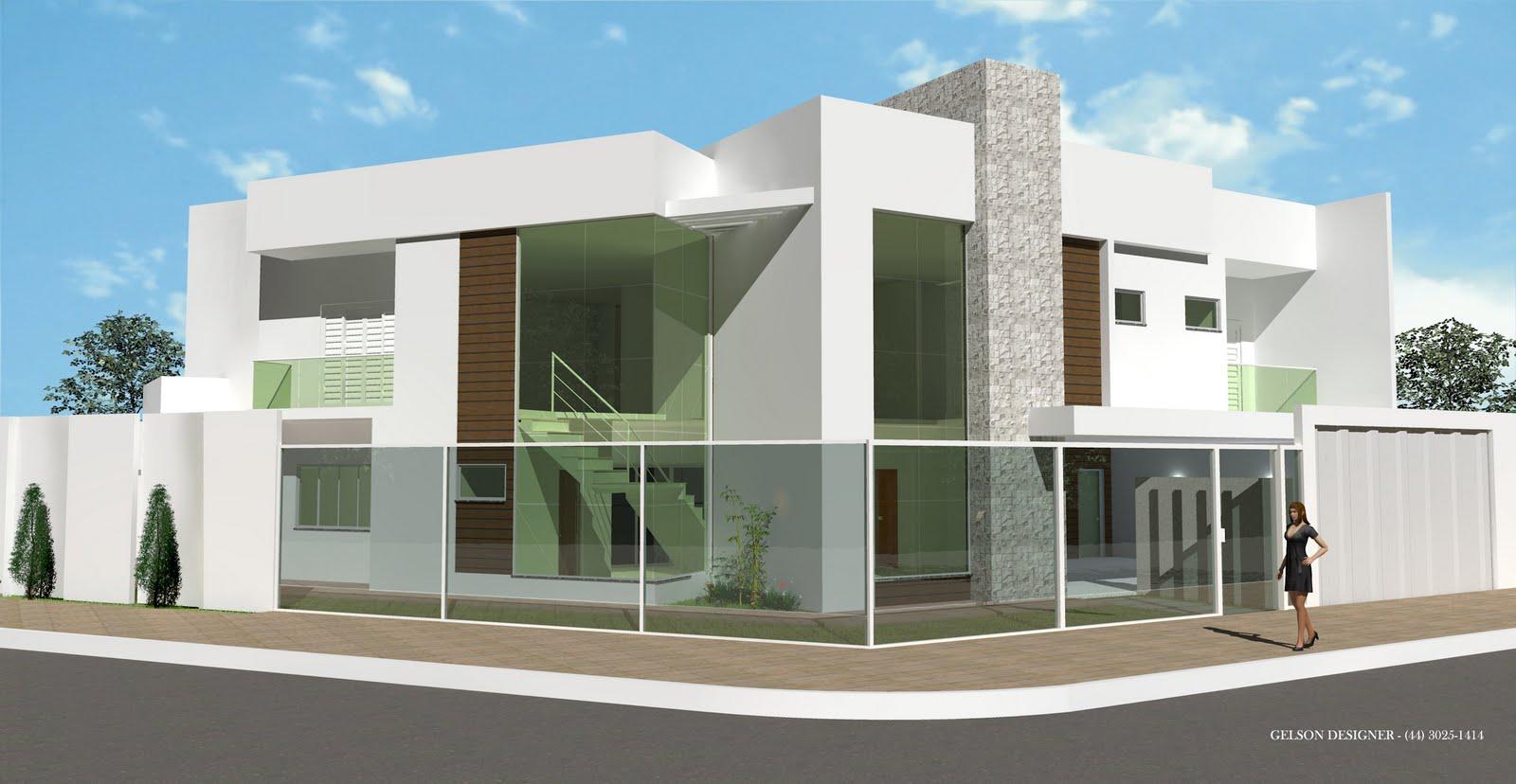 Fachadas de casas modernas com telhado embutido e for Fachadas para residencias