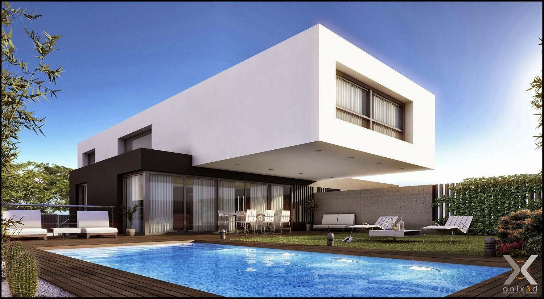 Fachadas de casas modernas com telhado embutido e for Viviendas minimalistas