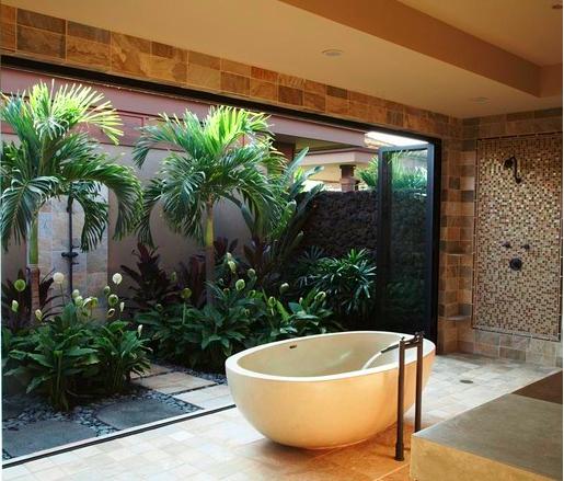 Decoração para jardim de inverno pequeno  Decorando Casas -> Banheiro Com Banheira E Jardim De Inverno
