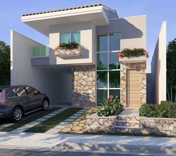 Fotos de fachadas de casas duplex decorando casas for Fachadas de casas modernas con piedra de una planta