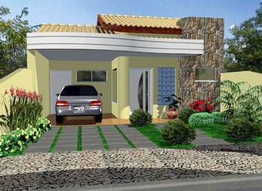 Fachadas de casas modernas terreas fotos decorando casas for Modelo de fachadas para casas modernas