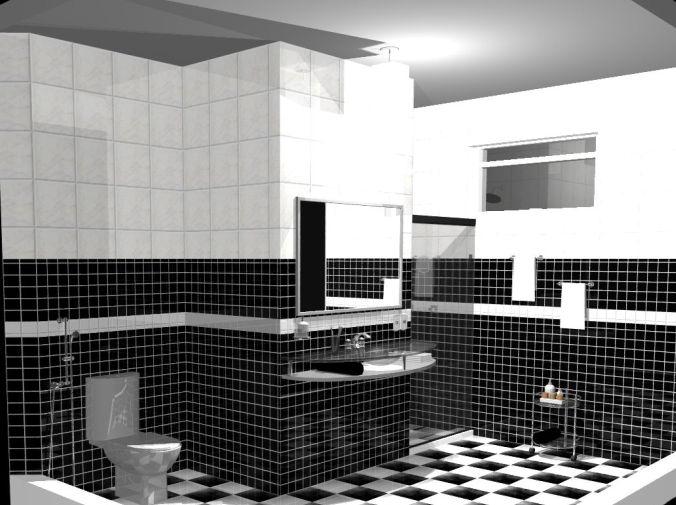 decoracao de banheiro vermelho e branco:Pisos porcelanato preto e branco
