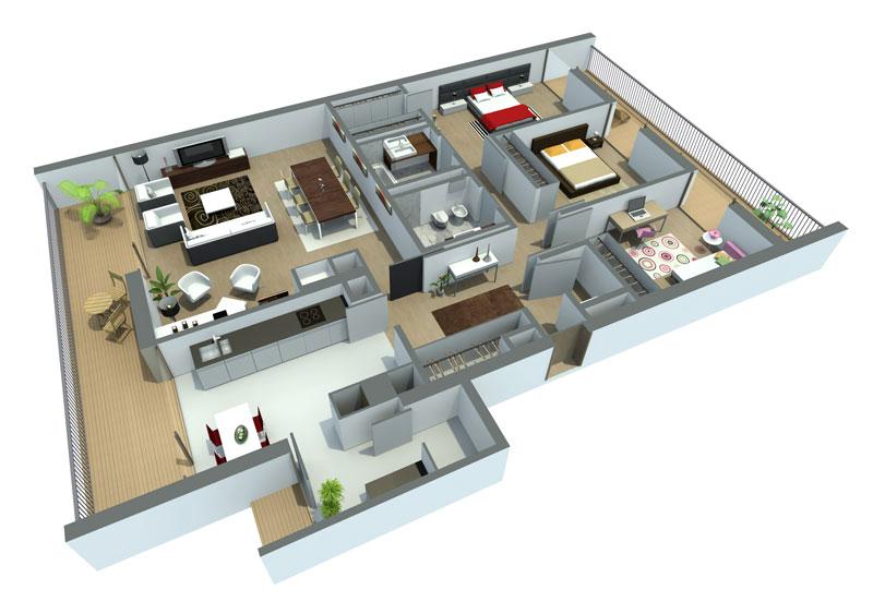 Fotos de projetos de casas 3d gr tis decorando casas for Casas modernas de 70m2