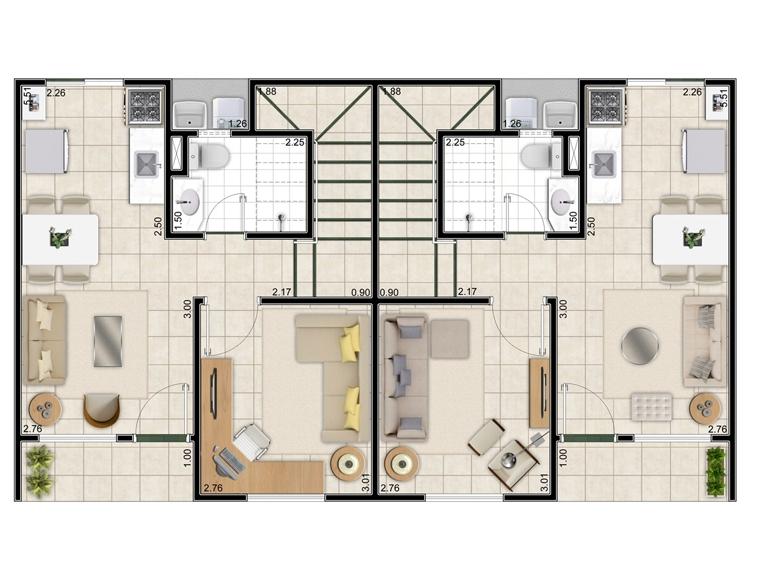 Projetos de sobrados com 3 quartos grátis | Decorando Casas