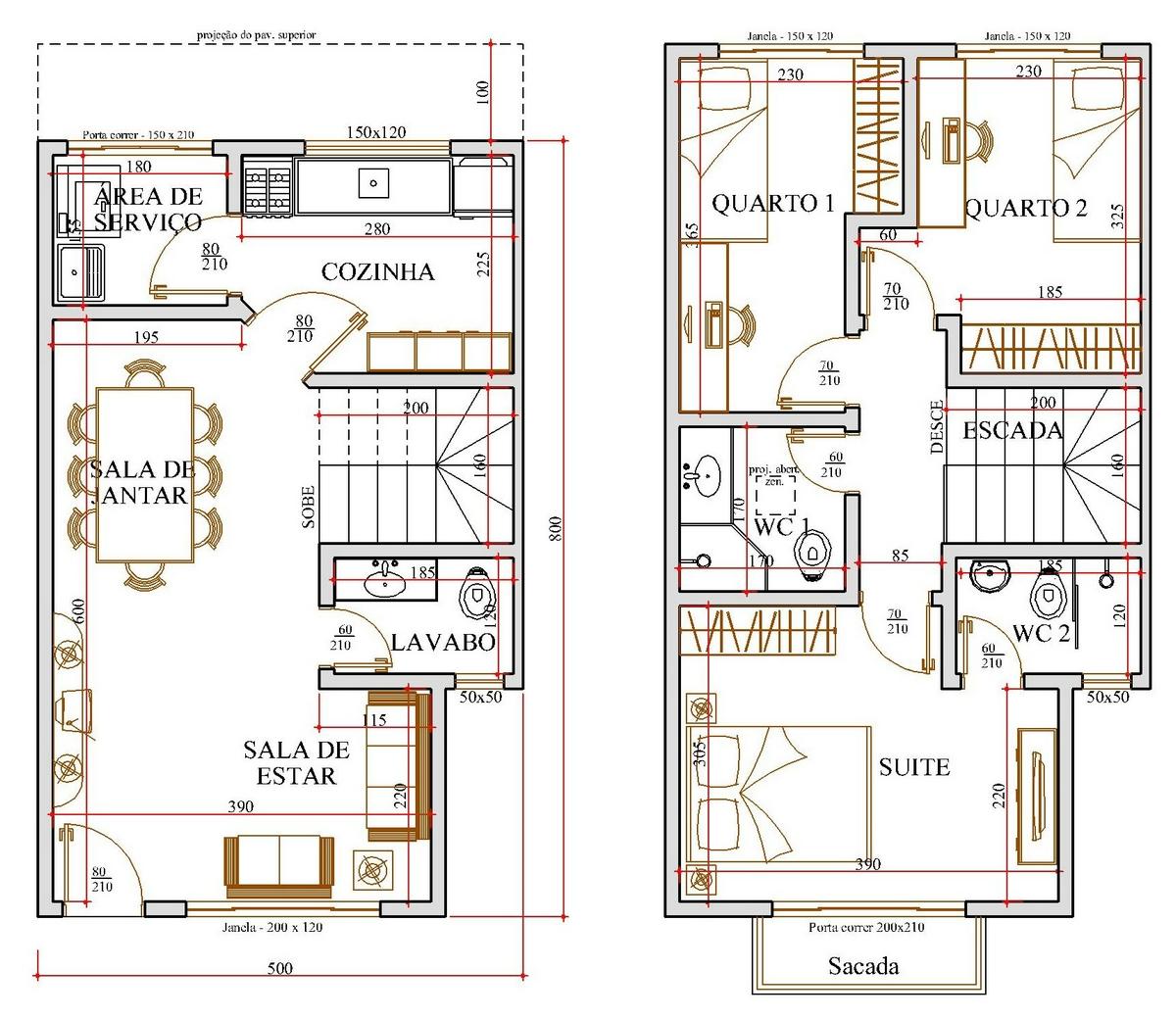 Projetos de sobrados com 3 quartos grátis Decorando Casas #9A3431 1200 1040