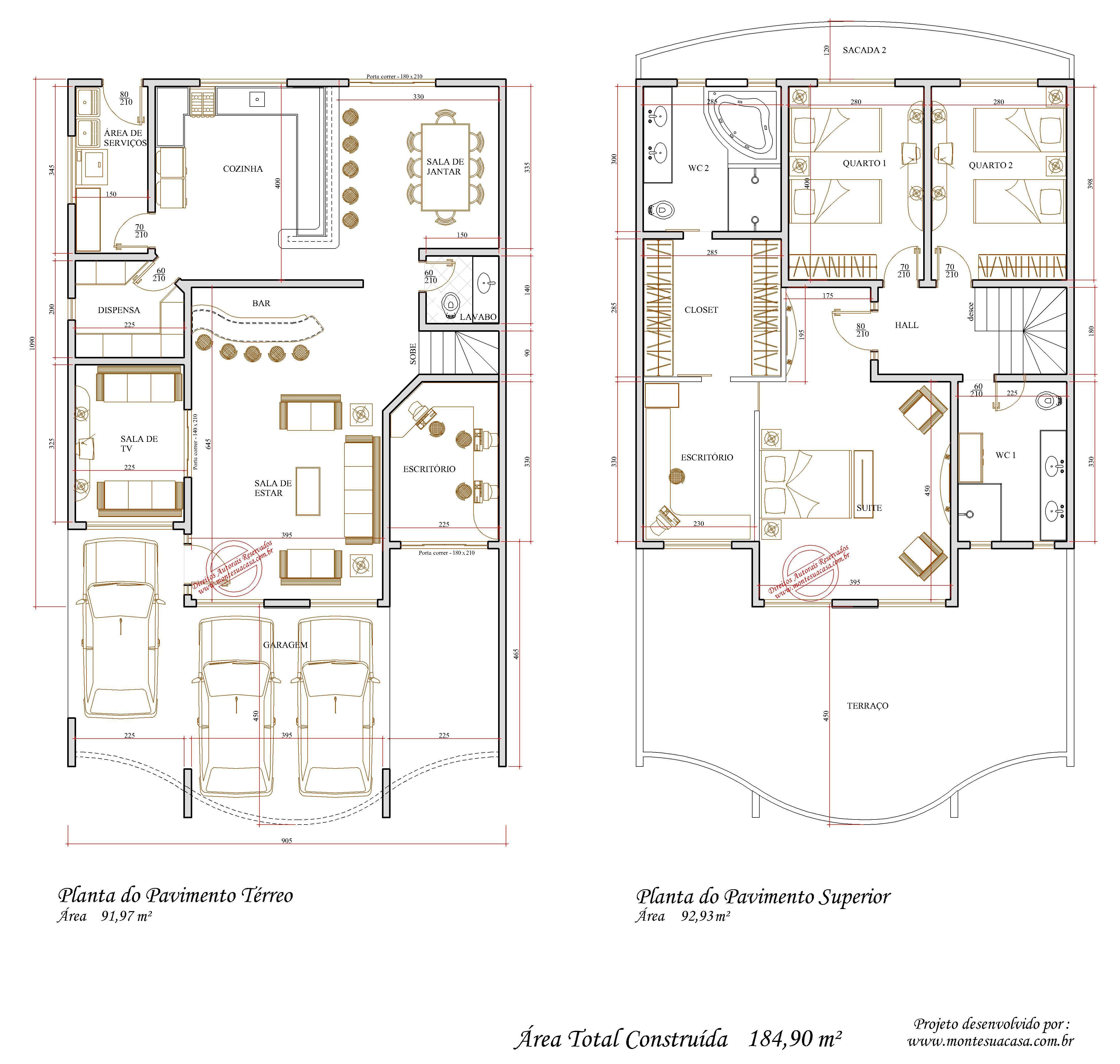 Projetos de sobrados com 3 quartos grátis Decorando Casas #896C42 4416 4195