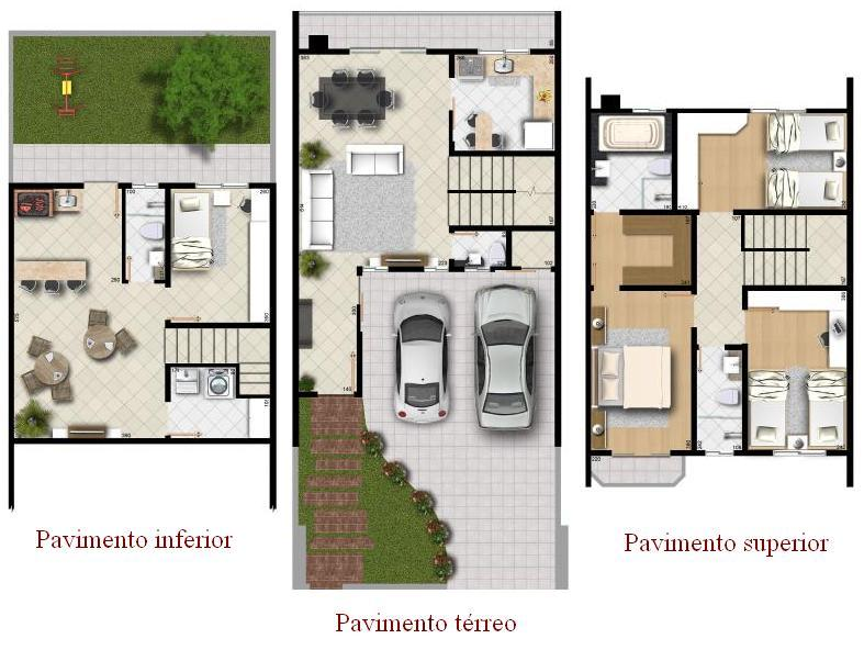 Projetos de sobrados com 3 quartos gr tis decorando casas for Plantas para casas minimalistas