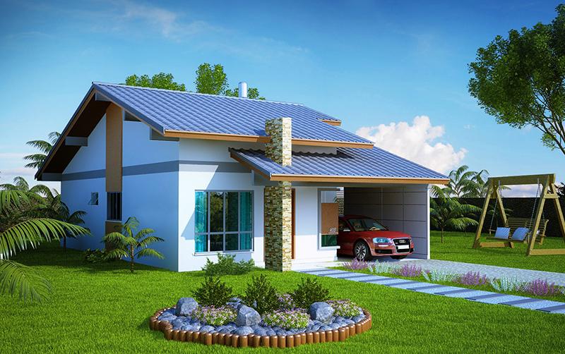 Projetos de casas modernas e pequenas gr tis decorando casas for Casa con garage indipendente e breezeway