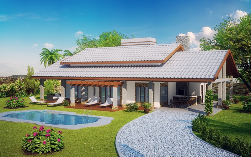 Projetos de casas de campo modernas decorando casas for Fotos de casas de campo con piscina