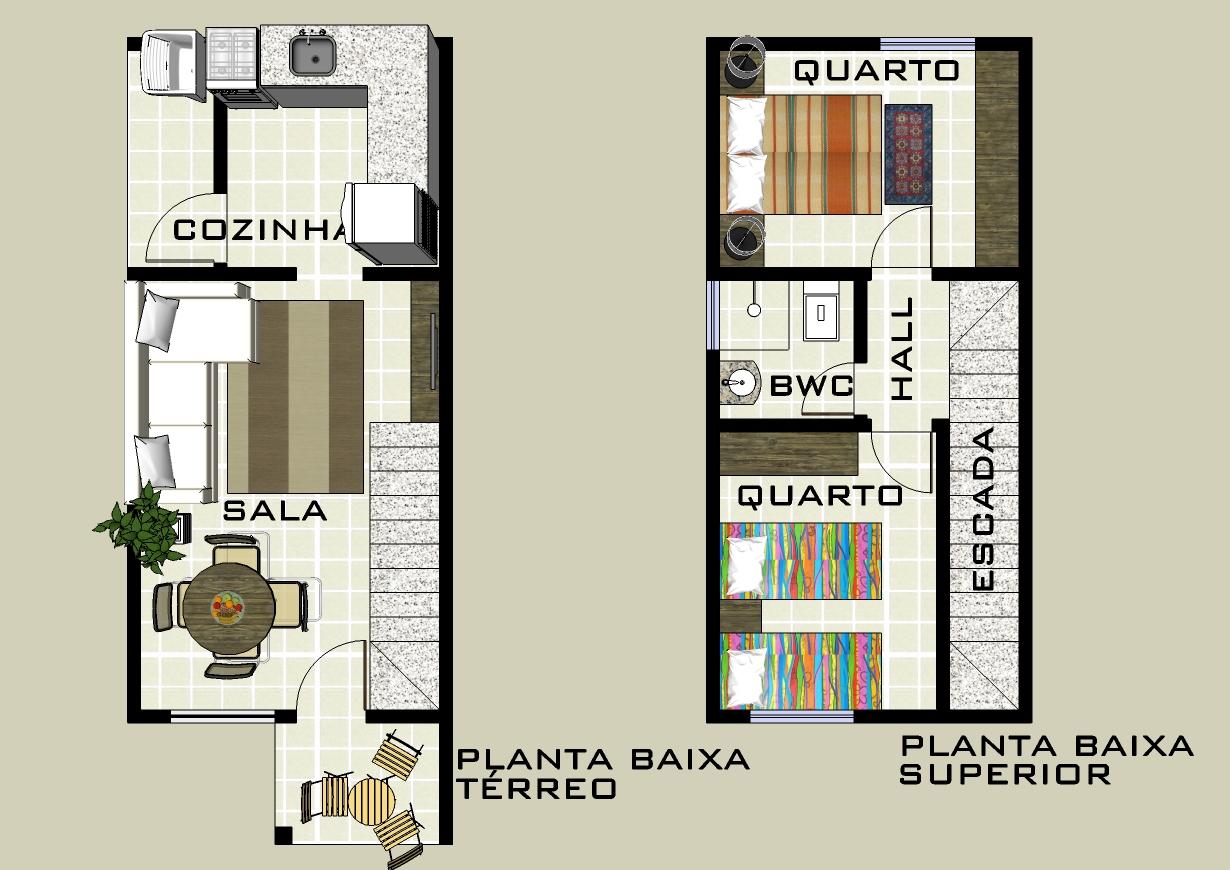 Projetos de casas geminadas grátis Decorando Casas #9F622C 1230 870