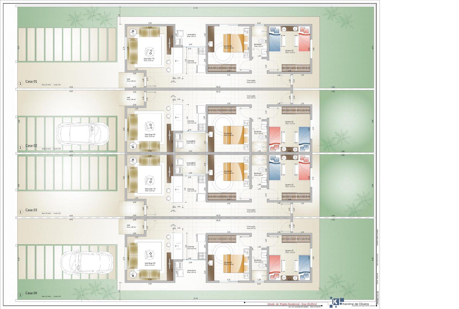 Projetos de casas geminadas grátis Decorando Casas #A26F29 1600 1077