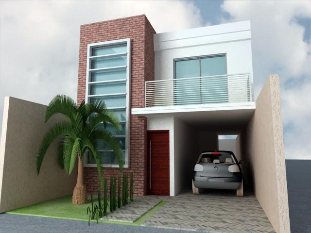 Projetos de sobrados pequenos e modernos decorando casas for Casa minimalista 120m2