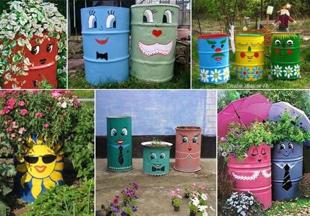 Decoraç u00e3o de jardim com material reciclado Decorando Casas