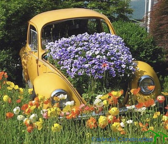 Decoraç u00e3o de jardim com material reciclado Decorando C -> Decoração De Jardim Com Material Reciclavel